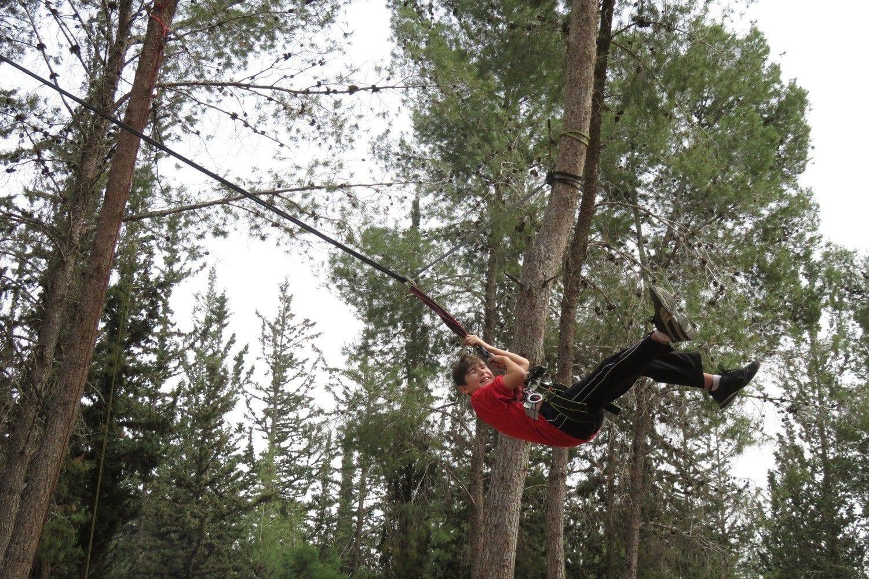 מפחיד אבל קצת... נדנדת ענק בין עצים עם ערוצים בטבע